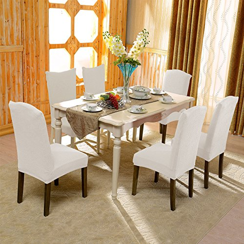 Subrtex jacquard stretch dining room chair slipcovers 4 for 4 dining room chair covers