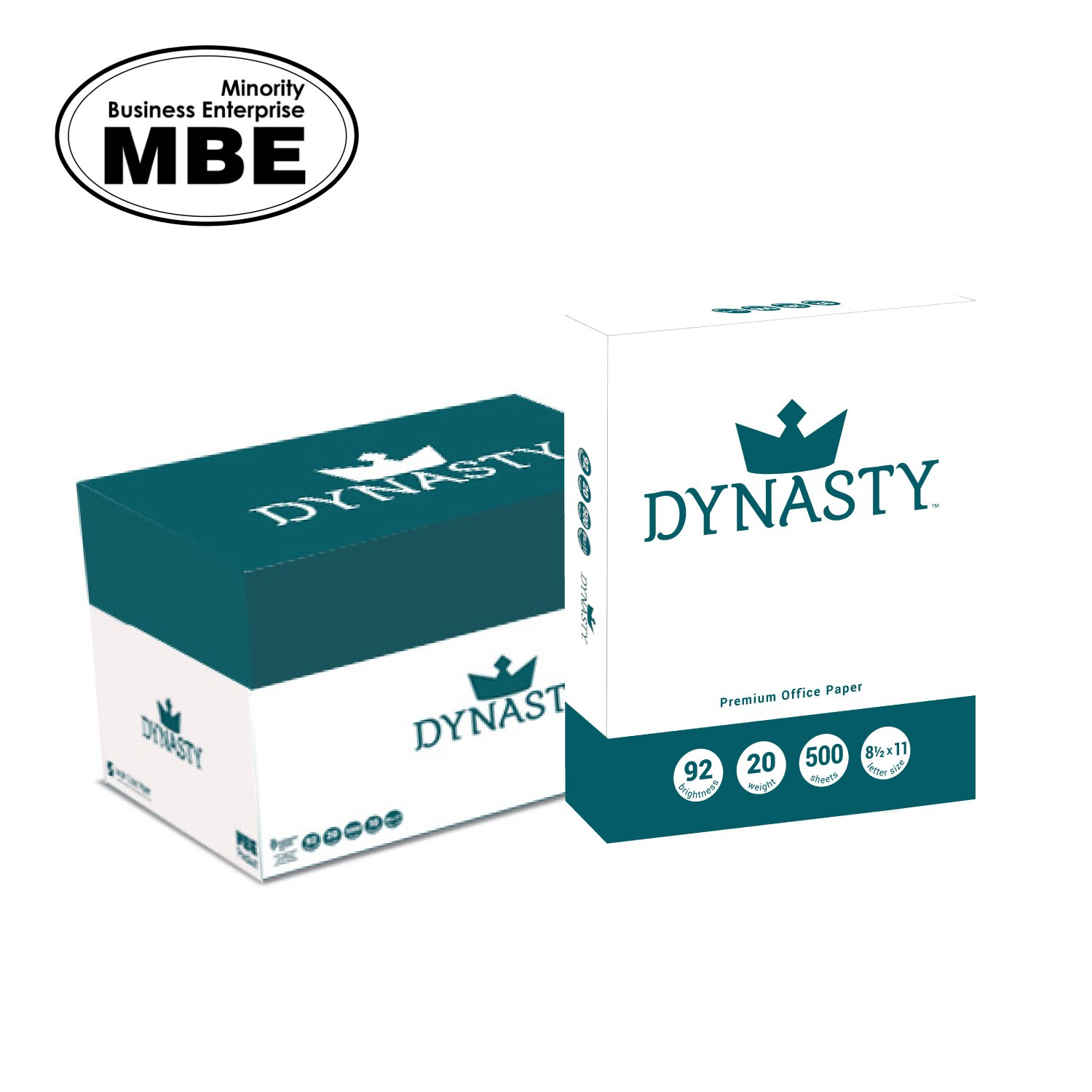 Dynasty Copy Paper, White Paper, 8.5 x 11, Letter, 92 Bright, 10 Reams - Diversity Product, MBE Certified (200550C)