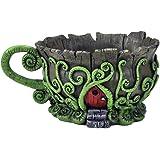 Woodland Fiddleheads Fairy Garden Teacup Planter With Red Fairy Door