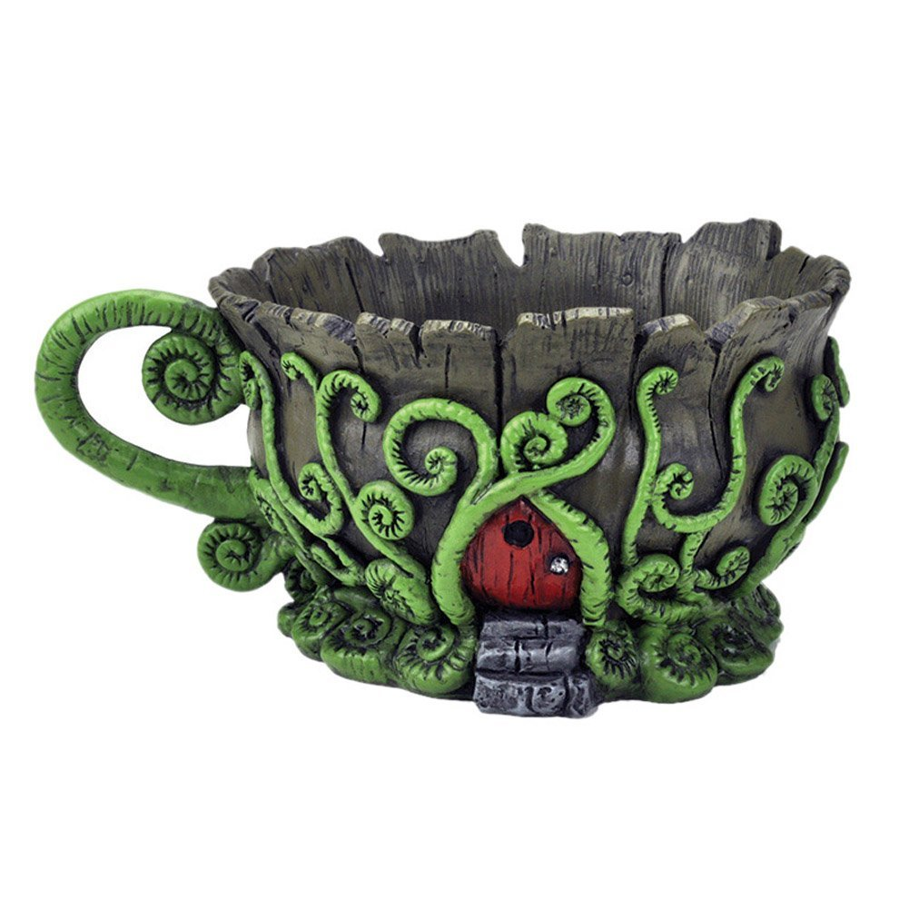 Miniature Fairy Garden Woodland Teacup Planter With Red Fairy Door