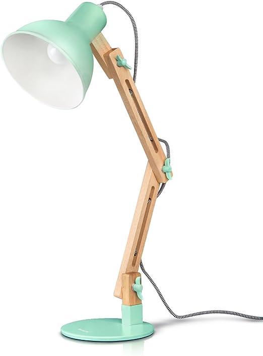 Illuminazione Lampadina E27 Braccio Flessibile Legno Metallo Luce Tavolo LED Protezione Occhi Bianca Navaris Lampada da Lettura Scrivania Ufficio