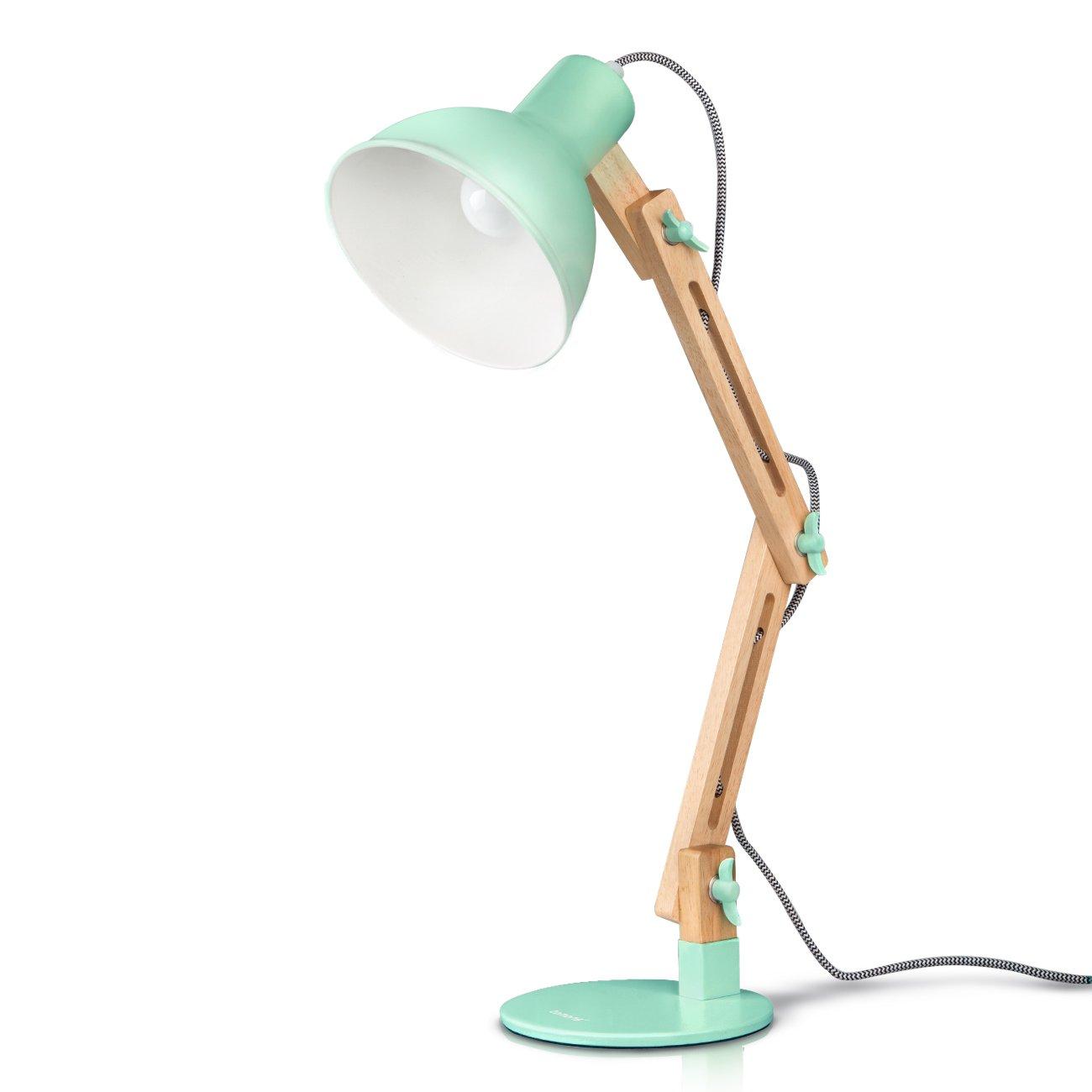 Tomons Leselampe im klassichen Holz-Design, Schreibtischlampe, Tischleuchte, verstellbare Schreibtischlampe, Lampe mit verstellbarem Arm, Augenfreundliche Leselampe, Arbeitsleuchte, Bürolampe, Nachttischlampe, Designer-Lampe Bürolampe