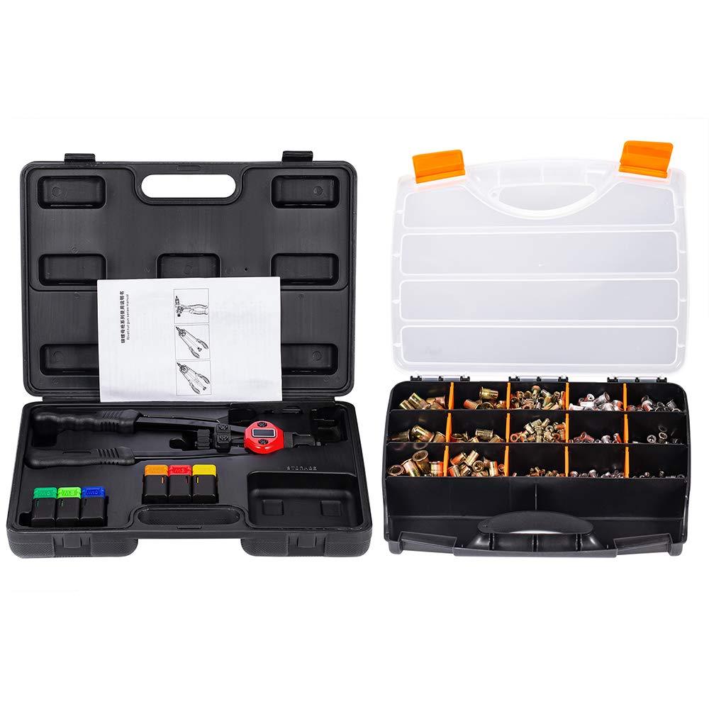 DOMINTY 13'' Auto Pumping Rod Rivet Nut Tool, Nut Sert Kit,6Pcs Metric Mandrels,900Pcs Rivet Nut M3 M4 M5 M6 M8 M10
