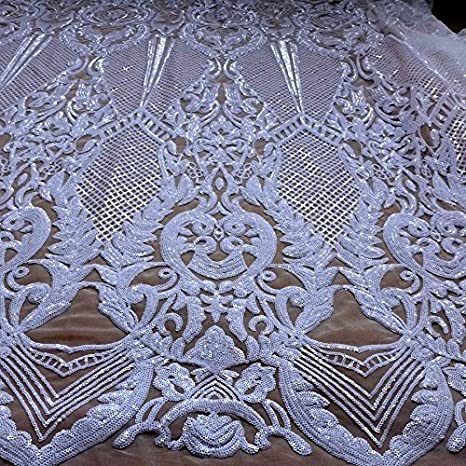Exquisite mesh sequins love embroidered lace fabrics Fashion designer lace DIY high-end skirt apparel accessories