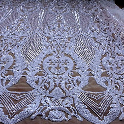 New sequins fabric white/black/gray/gold/deep blue sequins on elastic mesh embroidered evening/wedding dress lace fabric 51'' with (white)