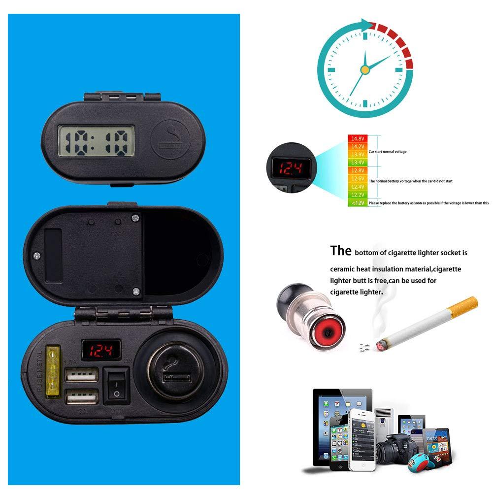 lzndeal Cavo di ricarica per auto, multifunzione, per moto, impermeabile, USB, caricatore, presa, accendisigari per moto