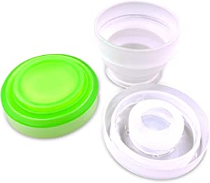 2 Pack Silicone Collapsible Travel Water Cup,Portable Camping Cup with Lids Food Grade Mugs Set for Outdoor Drinking