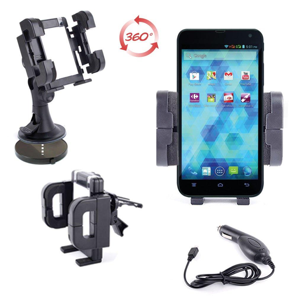Soporte de coche 3 en 1 para teléfono móvil y smartphone Carrefour SMART 5) (pantalla de 5