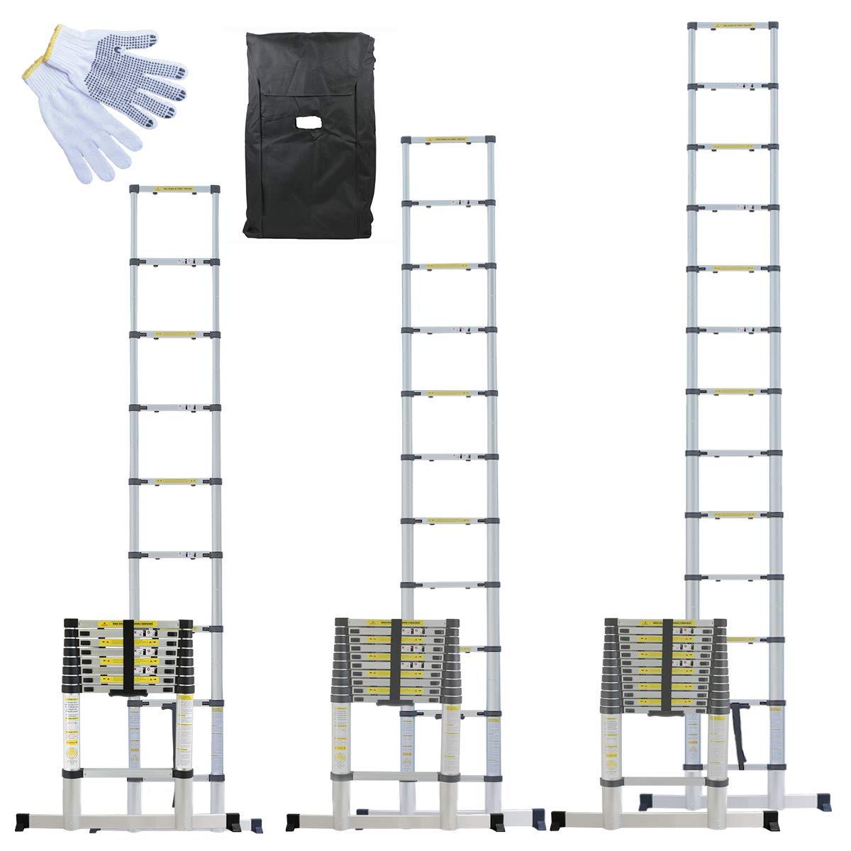 Linxor France ® Échelle Télescopique Pro 2.60m, 3.20m ou 3.80m en Alu + Housse de Transport et gants de maintien - Norme EN131 EGK