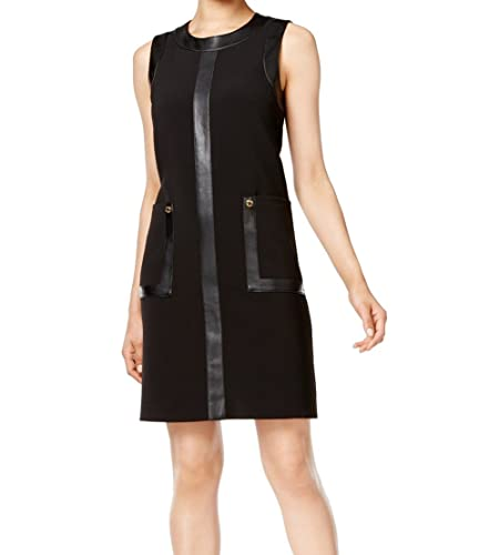 Calvin Klein Womens Mixed Media Faux Leather Party Dress Black 6
