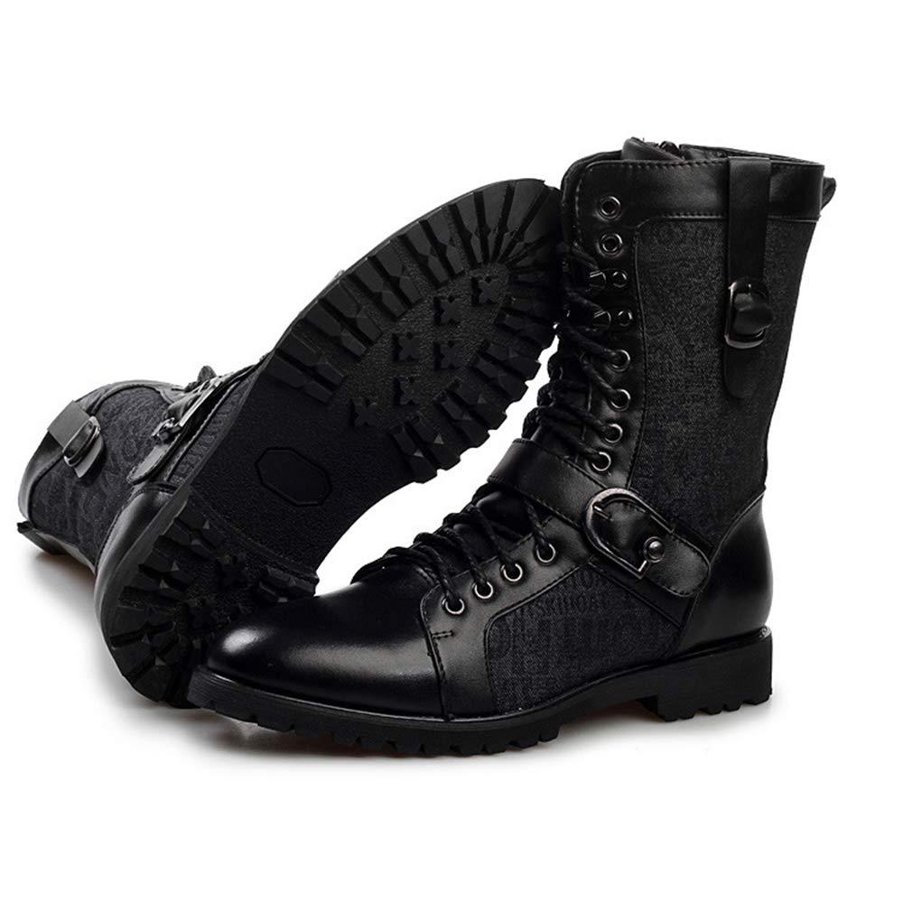HGDR Schnüren Sie Sich Mid Calf Stiefel für Männer, Männer, Männer, Kampf Armee Stiefel Schnalle Schwarz Leder Martin Stiefel Punk Rock Biker Schuhe  a30dc5