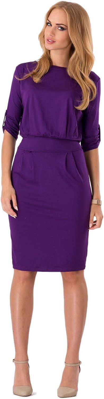 FUTURO FASHION® - Damen Shift-Kleid mit Gürtel & U-Ausschnitt - 3/4-Ärmel - 8986