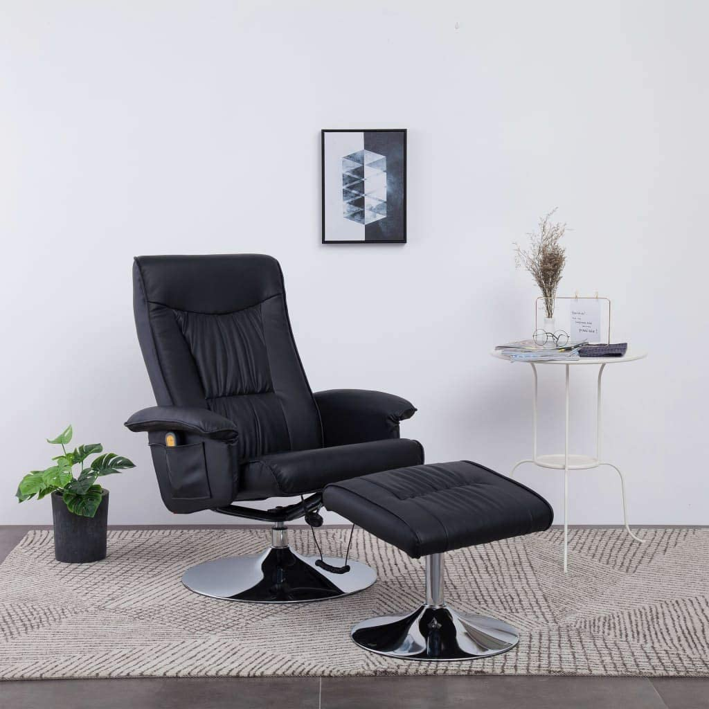 Festnight Massage Recliner with Footstool Black Faux Leather 8 Massage Points and 5 Modes with Heat Function