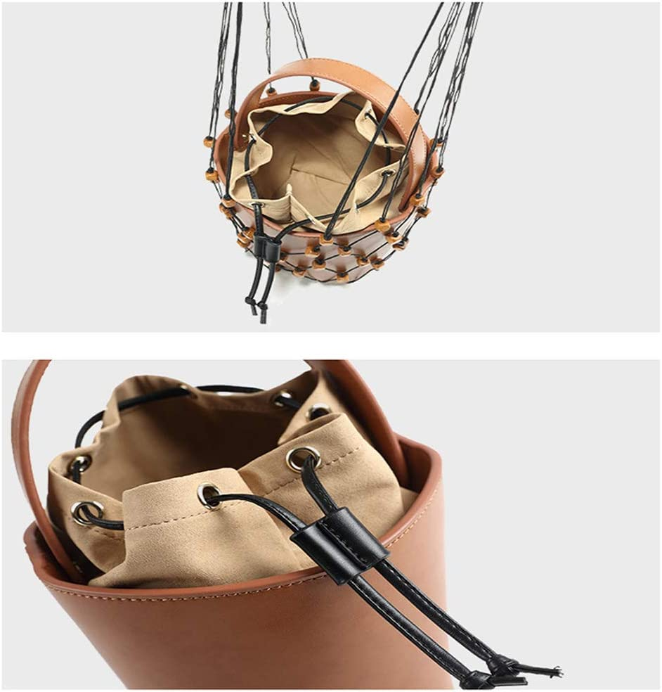 Zhao Xiemao Ladies Handbag Womens Vintage Leather Tote Bag Shoulder Bag Personality Portable Drawstring Handbag Net Pocket with Bead Everyday Weekend Leisure Bag Top Handle Bags Color : Brown