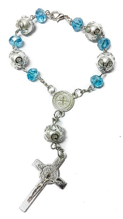San Benito trasera del coche (luz azul perlas rosario católico medalla de Nr Jerusalén
