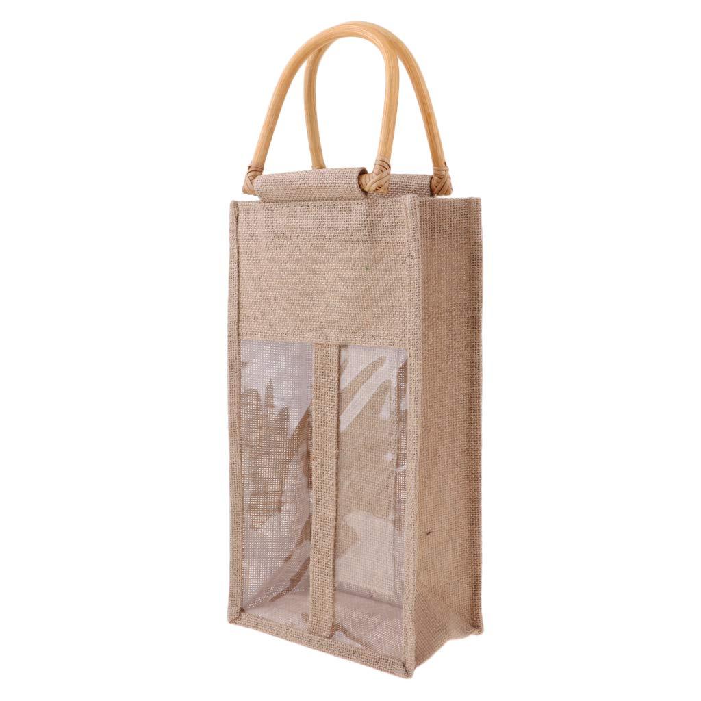 perfk Sac de Bouteilles de Vin 2pcs Coffret Paquet Cadeau en Toile Pochettes de Stockage Sac de Course