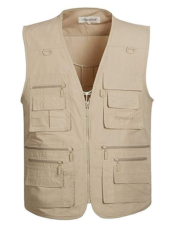 Gihuo Men's Summer Outdoor Work Safari Fishing Travel Vest with Pockets (Medium, Light Khaki)