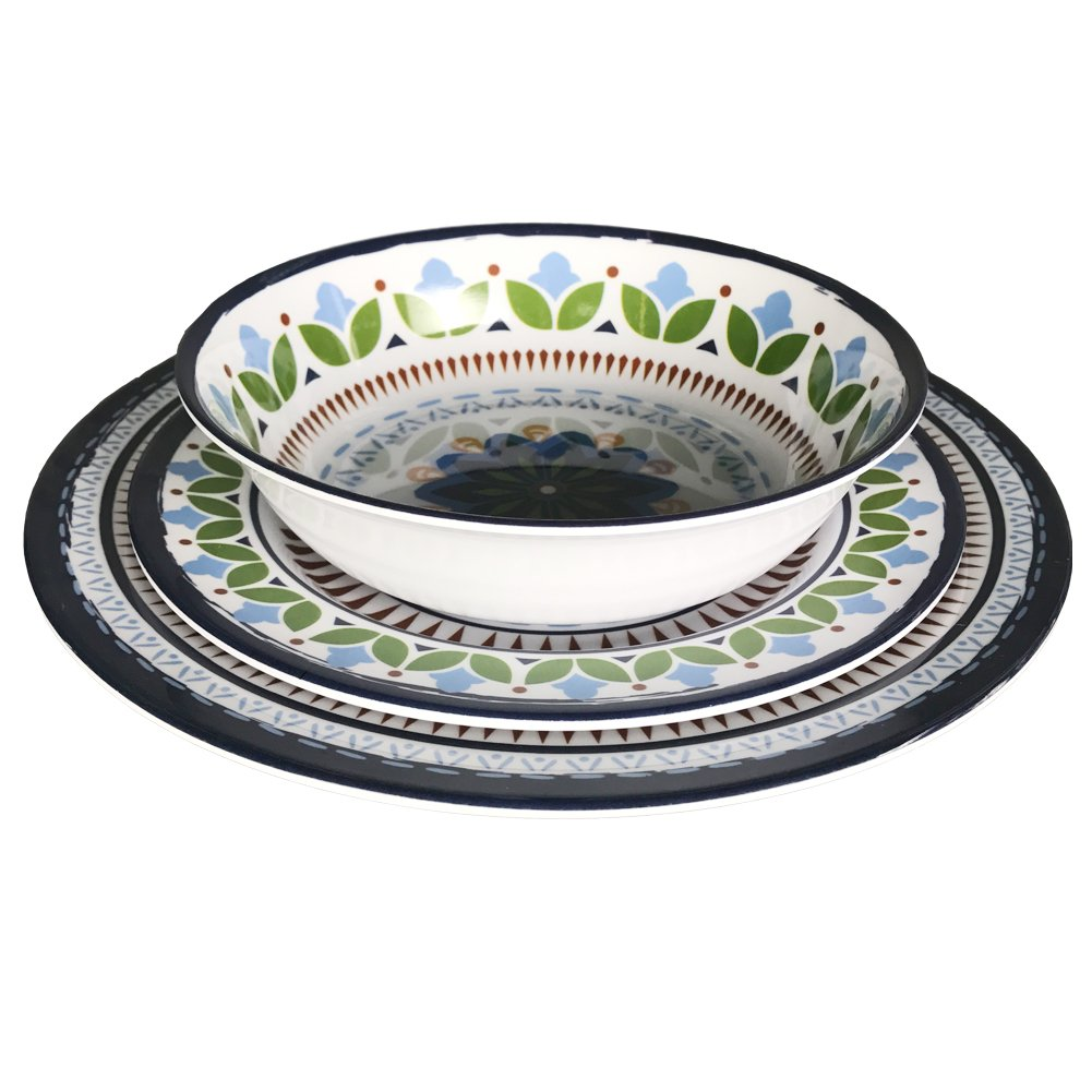 12 Pcs Melamine Dinnerware Set - Rustic Plates and bowls Set for Camping, Service for 4, Dishwasher Safe by Hware (Image #2)