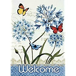JoyPlus Welcome Butterfly & Flower Garden Flag - Vertical Double Sided Spring Summer Decorative Rustic/Farm House Small Decor Flags Set for Indoor & Outdoor Decoration, 12 X 18 Inch