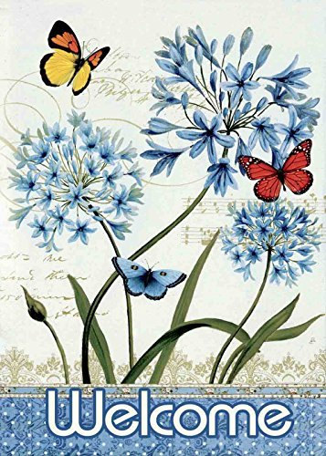 welcome butterfly flower garden flag
