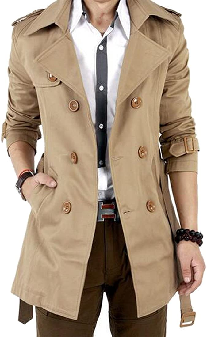 Oberora-Men Classic Double Breasted Slim Belted Trench Coat Jacket