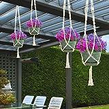 Sorbus Macrame Plant Hanger [4 Pack] Indoor Outdoor