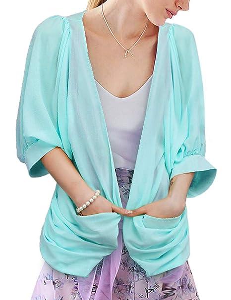 Amazon.com: deluxsey Womens Chifón Kimono chaqueta de punto ...