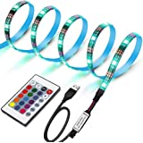 LUNSY LEDテープライト LEDテレビバックライトキット PC照明 USB接続 リモコン付き カラー選択 両面テープ仕様 切断可能 防水 高輝度 高品質 LEDイルミネーション 屋内外装飾 1M
