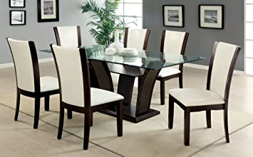7 Pc. Manhattan I Contemporary Style Dark Cherry Wood Finish Dining Set  With White Seat