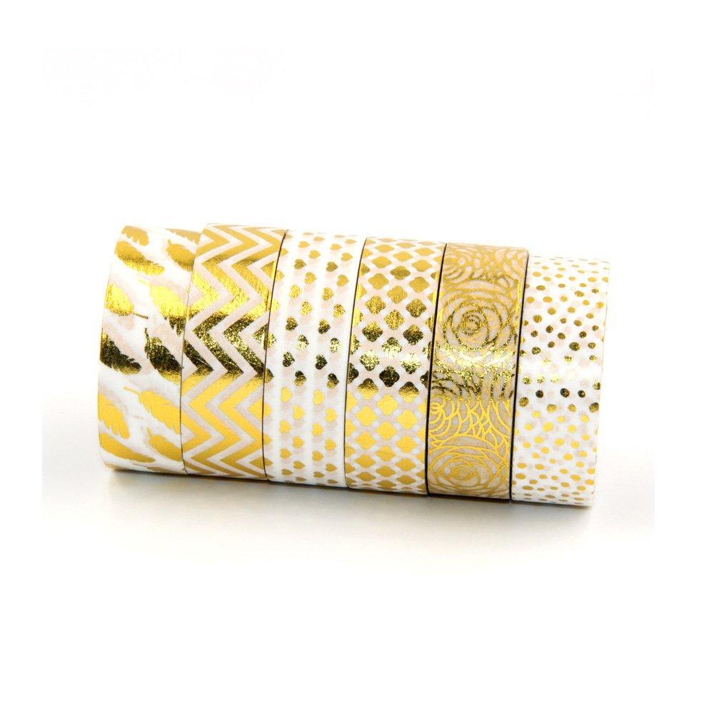 15mm Gold foil Tapes Set for Christmas Print DIY Decor Masking Wave,dot,Leaf,Heart,Flower Tape Paper