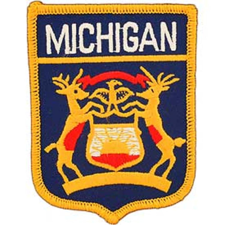 FindingKing Michigan Estado bandera escudo parche 2 7/8 \
