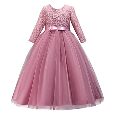 19ee8d59bf6 Girl Long Sleeve Vintage Lace Tutu Princess Pageant Cocktail Dresses Kids  Prom Ball Gown Wedding Junior