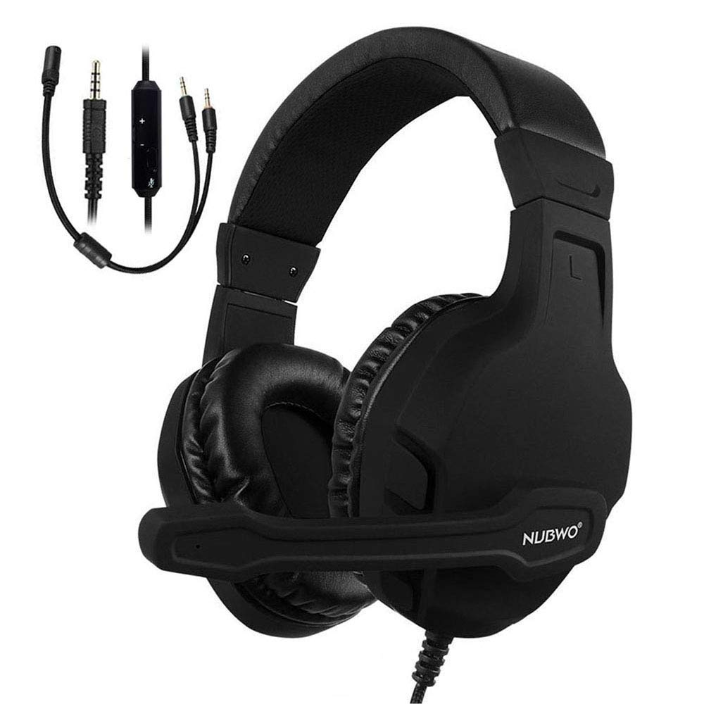 NUBWO Gaming Headset Xbox One PS4 Headset PC Mic, Comfort Earmuff, Lightweight, Easy Volume Control for Xbox 1 S/X Playstation 4 Computer Laptop(Black)