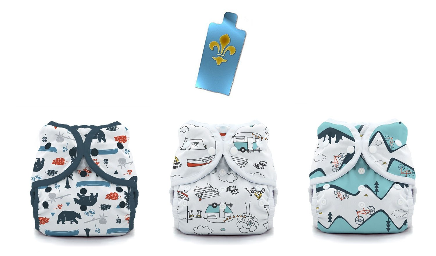 Thirsties Duo Wrap Snaps Diaper Covers 3 pack Combo: Adventure, Happy Camper, Mountain BikeSz 1