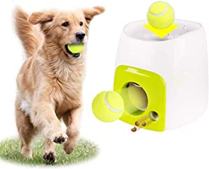 Dog Toy Tennis Ball Launcher, Automatic Tennis Ball Launcher for Dogs Interactive Fetch Toy Machine, Tennis Food Reward Machine with Tennis Ball for Pet