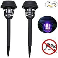 Lampe solaire de jardin Énergie Solaire Lumière LED Anti-moustique Eclairage et Tue-moustique Lampe de Jardin Pelouse (Lot De 2)