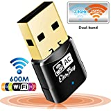 EkoBuy® AC600 802.11ac Mini Dual Band 5GHz Wireless USB Adapter Dongle , 433Mbps + 150 Mbps Compatible with Windows, Mac OS, Ubuntu, Linux Mint, Raspberry Pi