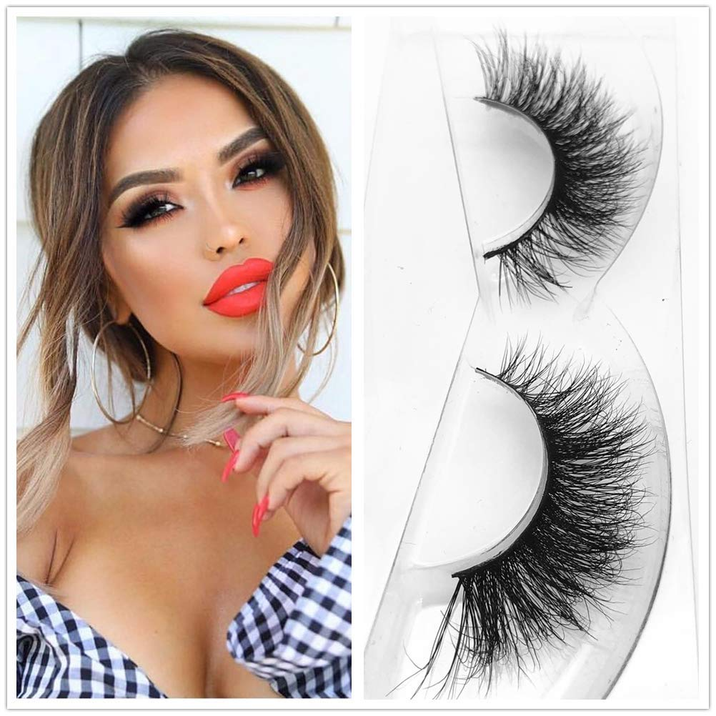 bc2b269802c Amazon.com : 3D63 Mink 3D Lashes Thick Natural Cross Makeup Strip Eye Lashes  100% Siberian Fur Fake Eyelashes Hand-made False Eyelash 1 Pair Package  Miss ...