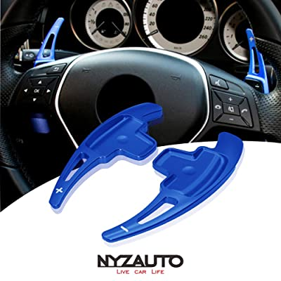 NYZAUTO Aluminum-Alloy Steering Wheel Paddle Shifter Extension Fit For Mercedes Benz A B E GLA GLK SLK M GL Class(Model A-Blue): Automotive