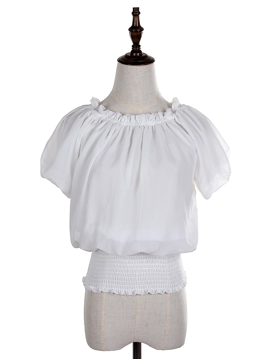 1940s Blouses, Shirts and Tops Fashion History Anna-Kaci Womens Short Sleeve Ruffle Off Shoulder Smocked Waist Boho Blouse Tops $27.99 AT vintagedancer.com