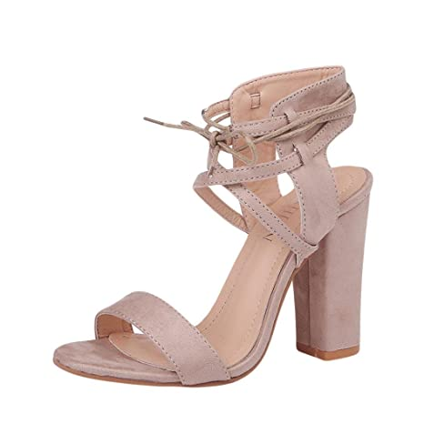 c31c756d35 SUKEQ Womens Chunky Block Heel Sandals High Heels Criss Cross Strappy  Slingback Sandal Dress Shoes (