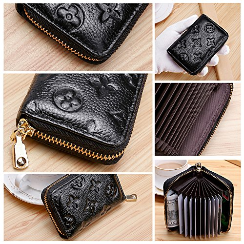 Auner Womens Wallet RFID Blocking Genuine Leather Multi Credit Card Holder Zipper Small Wallets - Black by Auner (Image #6)