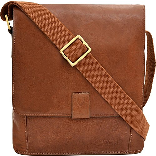 Hidesign Aiden Medium Leather Messenger Cross body Bag, Tan