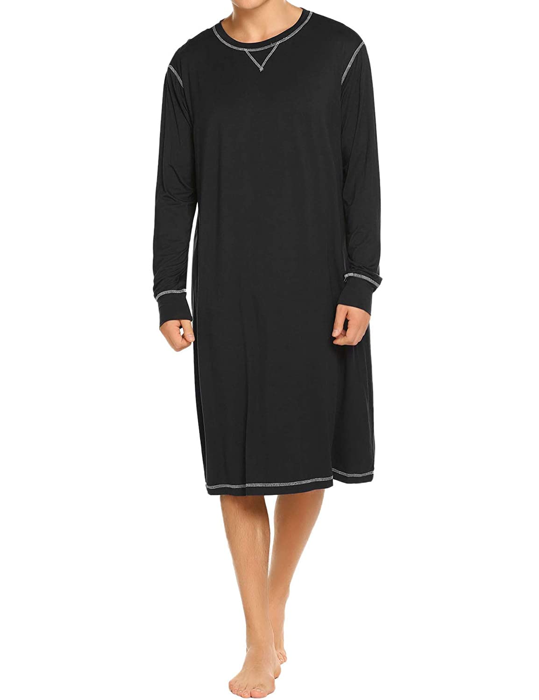 Ekouaer Sleepwear Men s Nightshirt Long Sleeve Cotton Pajamas Comfy Loose  Long Sleep Shirt S-XXL at Amazon Men s Clothing store  8012864a8