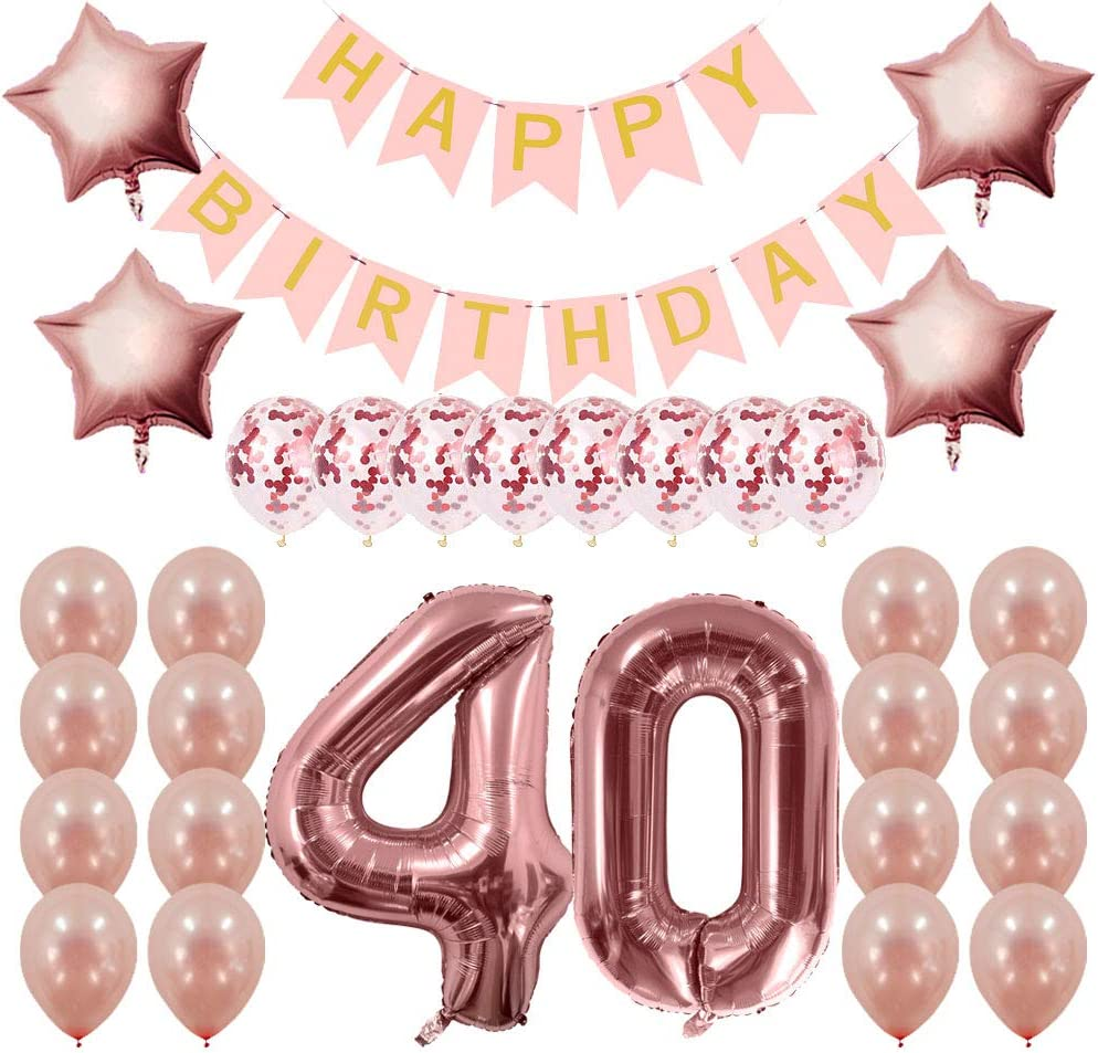 Rose Gold Happy Birthday Balloons Foil Number 16th 18th 21st 30th 40th Age Decor