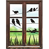 SUMGAR Birds on Wires Green Lanscape from Window View Mural Wall Art Nature Self Adhesive Wallpaper Decals Home Decor,48x36 inch