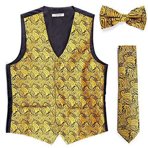 Cyparissus 3pc Paisley Vest Men Neck Tie Bow Tie Set Suit Tuxedo for $<!--$21.99-->