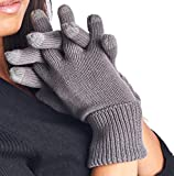 High Style Unisex All Fingers Texting Touchscreen Merino Wool Cashmere Smart Gloves (W001, L/XL, 02-Charcoal)