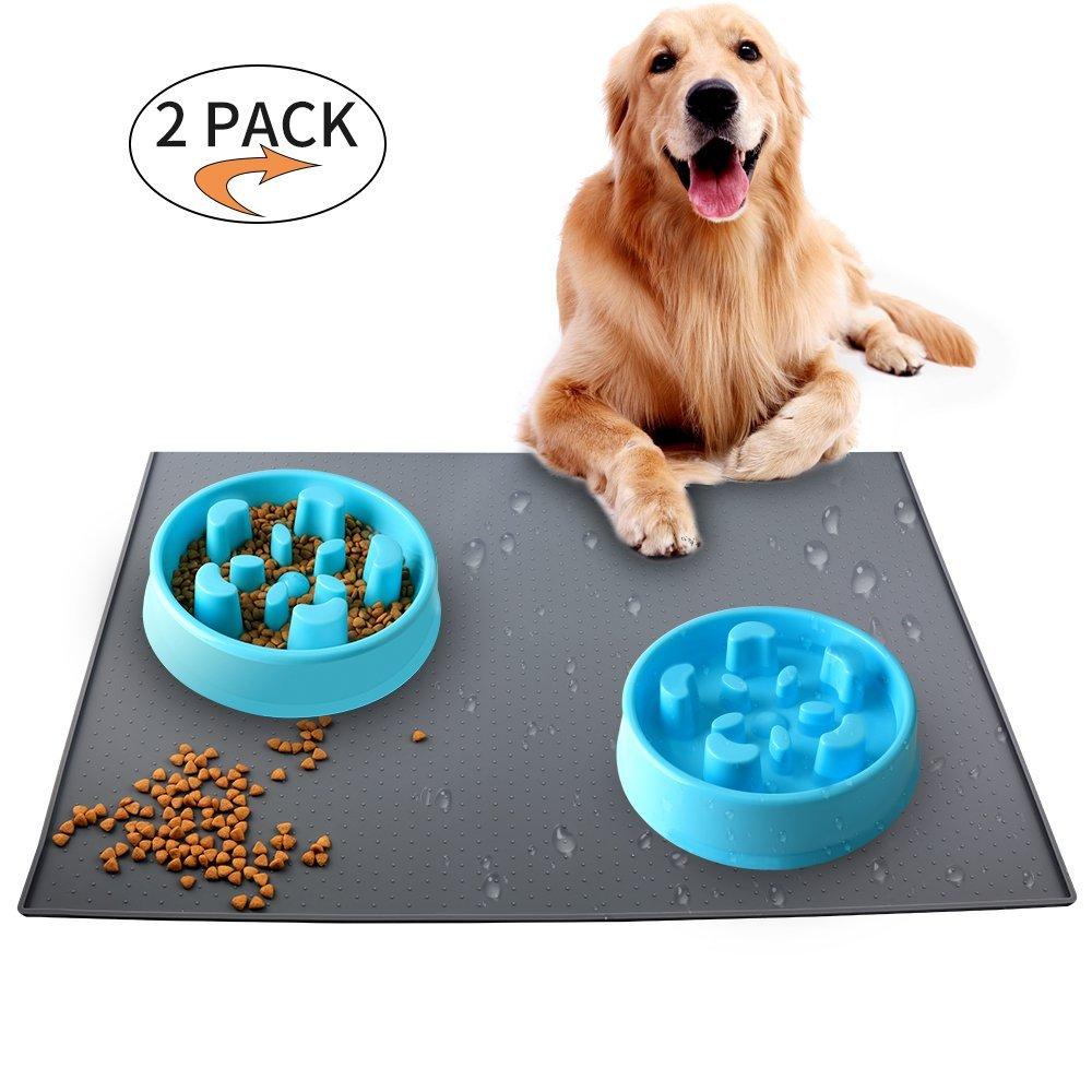 KAOSITONG Dog Feeding Mat, Dog Bowl Mat, Pet Food Mat, Waterproof Dog Cat Mat Premium Silicone FDA Grade Non-stick Non-Slip Anti-Spill Easy Clean - GRAY (23.7in-15.8in)