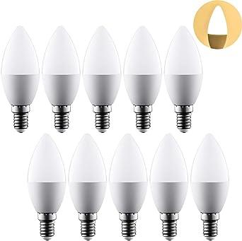 Pack de 10 Unidades,Bombillas LED Vela E14 (Casquillo Fino) - 5W equivalente a 35W, 300 lúmenes, Color calida, No regulable: Amazon.es: Iluminación